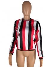 Crew Neck Stripe Long Sleeve T Shirt