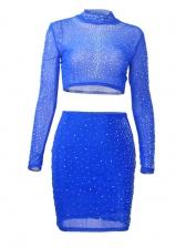 Rhinestone Decor Long Sleeve Crop Top And Skirt Set