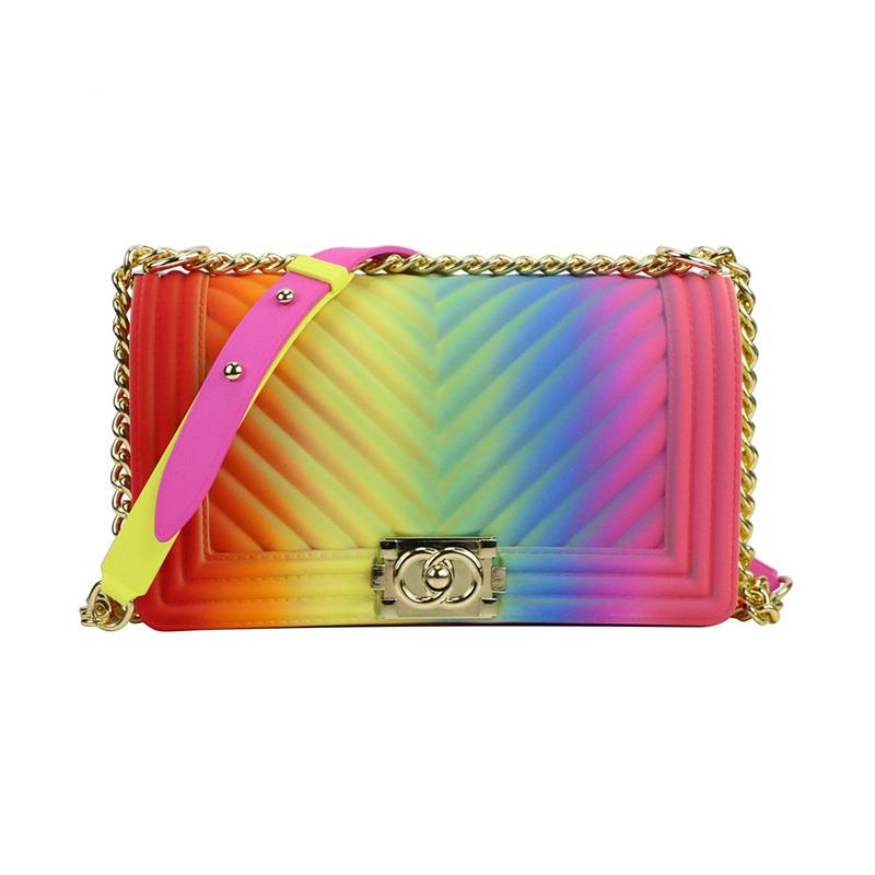 Coloured Matte Chevron Chain Bag For Women