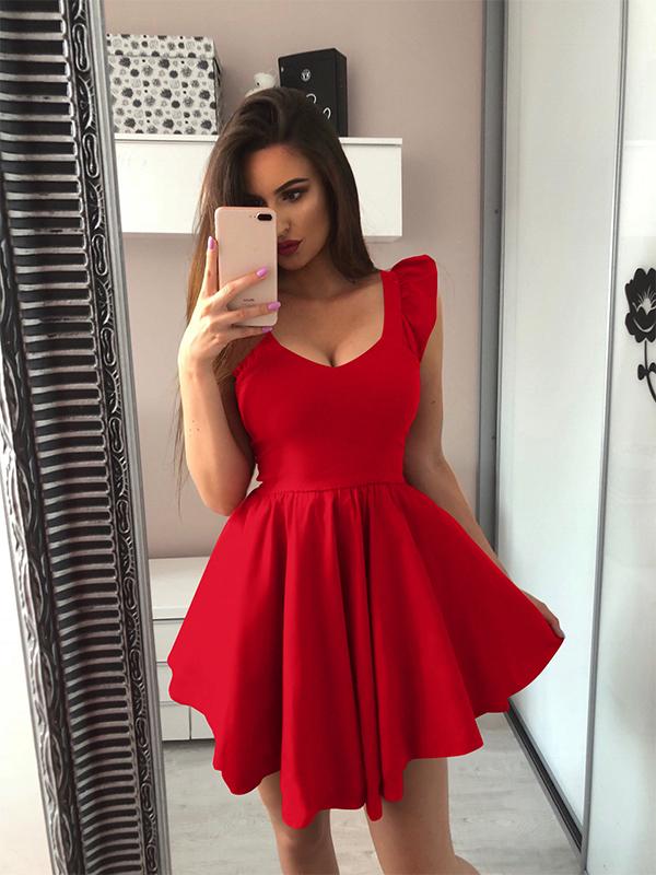 V-neck Ruffles Solid Sleeveless Dresses