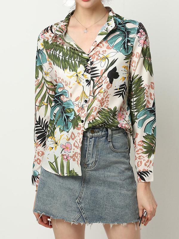 Plants Printed Single Breasted Long Sleeve Shirts