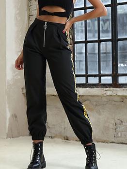 Letter Patchwork Zipper Black Cargo Pants