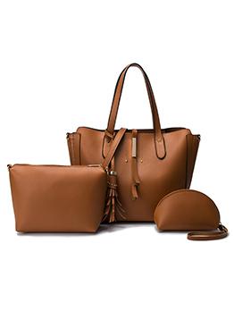 Tassel Pendant Solid Color Multiple Bags Set For Women