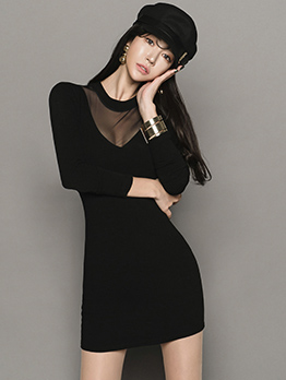 Sexy Patchwork Perspective Long Sleeve Mini Dress