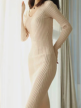 V Neck Fitted Long Sleeve Knitted Dress