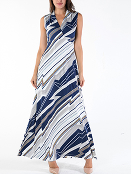Contrast Color Women Sleeveless Maxi Dresses