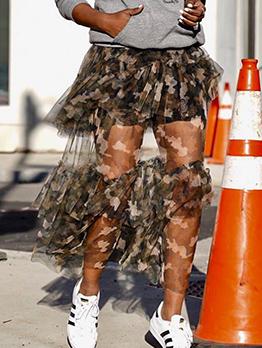 Camouflage Elastic Waist Tiered Skirt