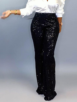 Chic Women Wide Leg Sequin Pants