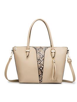 Ol Style Tassel Pendant Snake Printed Tote Handbags