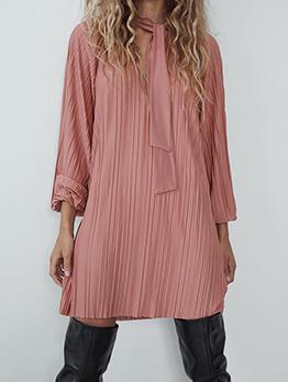Chic Style Lantern Sleeve Pink Long Sleeve Dress