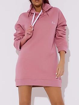 Hot Sale Solid Long Sleeve Hoodies Dress