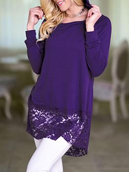 Lace Panel Hooded Long Sleeve Long T Shirt