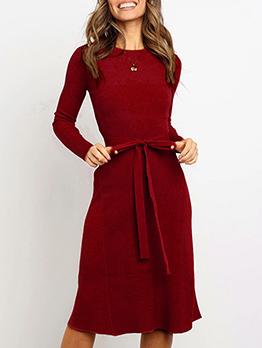 Solid Winter Elastic Long Sleeve Dress