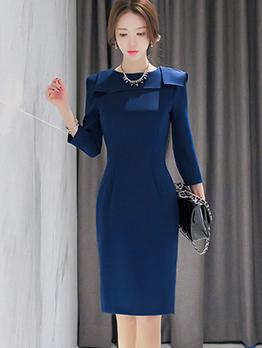 Elegant Fitted Blue Long Sleeve Formal Dresses