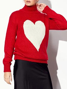 Heart Pattern Long Sleeve Turtleneck Sweater