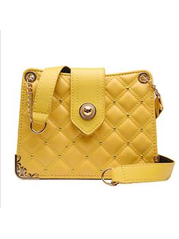 Rhombus Pattern Rivets Chain Crossbody Shoulder Bag