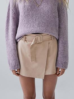 Solid High Waist Short Pants For Women