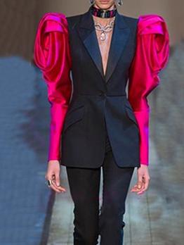 Contrast Color Gigot Sleeve Boutique Ladies Blazer