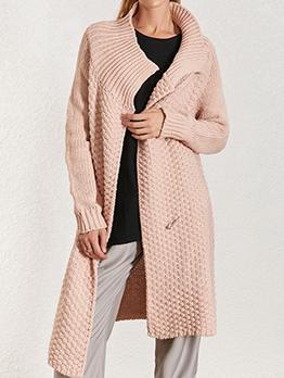 Solid Turndown Collar Long Sleeve Cardigan Sweater
