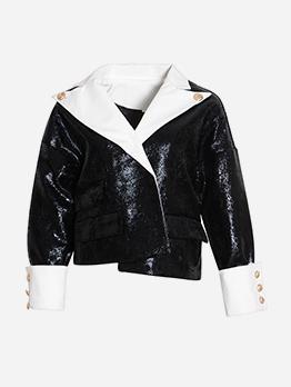 Boutique Contrast Color Pu Long Sleeve Ladies Jacket