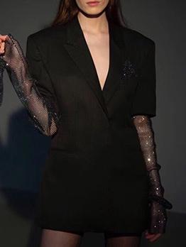 Boutique Rhinestone Decor Gauze Patchwork Sleeve Black Blazer