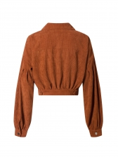 Casual Cropped Top Solid Womens Winter Coats
