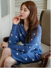 Dot Backless Long Sleeve Sweater Dress