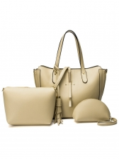Tassel Pendant Solid Color Multiple Bags Set For Women