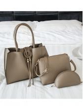 Office Ladies Minimalist Pu Three Piece Handbag Set
