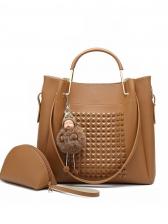 Rivets Decor Metal Handle Handbag Set With Doll Pendant
