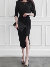 Solid Split Three Quarter Sleeve Black Dress