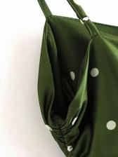 Drawstring Polka Dot Sleeveless Dress