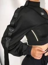 Reflective Buckle Ribbon Irregular Long Sleeve T Shirt