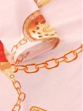 Deep V Neck Chain Printed Long Sleeve Bodycon Dress