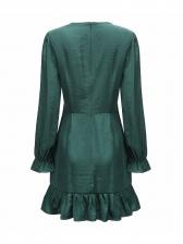 V Neck Flounced Hem Long Sleeve Green Dress