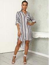 Striped Loose Irregular Long Sleeve Shirt Dress