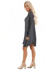 V Neck Large Hem Solid Long Sleeve Dress