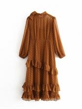 Dot Ruffled Bow Long Sleeve Midi Dress