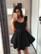V-neck Ruffles Womens Sleeveless Dresses