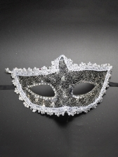Rhinestone Decor Sequined Dance Mask For Women