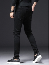 Badge Patch Embroidery Black Jeans Pant
