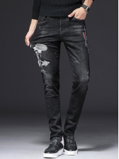 Embroidery Ptinted Black Men Jeans