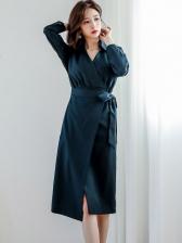 Ol Style V Neck Tie-Wrap Long Sleeve Formal Dresses