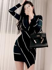 Ol Style v Neck Contrast Color Long Sleeve Bodycon Dress