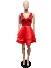 Asymmetrical Sequin Deep V Neck Sleeveless Dress