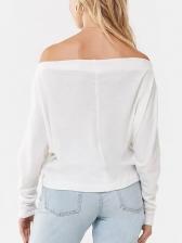 Off The Shoulder Minimalist Bat Sleeve T Shirt
