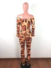 Off Shoulder Leopard Printed Skinny 2 Piece Pants Set