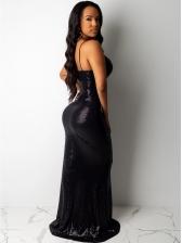 Minimalist Sequined Spaghetti Strap Black Prom Dresses