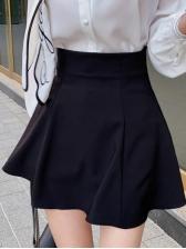 Tie Neck White Shirt With High Waist A-Line Skirt