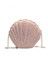 Cute Sequined Powder Shell Shape Chain Shoulder Bag